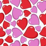 Sömlös modell för röda och rosa hjärtor Royaltyfri Fotografi