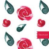 Sömlös modell för röda rosor också vektor för coreldrawillustration tecknad hand vektor illustrationer