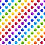 Sömlös modell för regnbåge av färgrika cirklar på den vita bakgrunden stock illustrationer