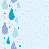 Sömlös modell för regndroppevektor Handdrawn Vektor Illustrationer