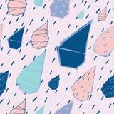 Sömlös modell för regndroppevektor Handdrawn Stock Illustrationer
