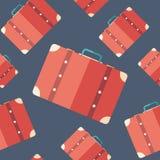 Sömlös modell för Retro resväskalägenhetsymbol Royaltyfri Bild