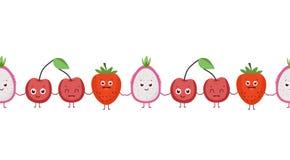Sömlös modell för rolig frukt härligt också vektor för coreldrawillustration stock illustrationer