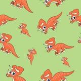 Sömlös modell för rolig tecknad filmdinosaurie stock illustrationer