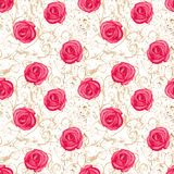 Sömlös modell för Rosa damascena stock illustrationer