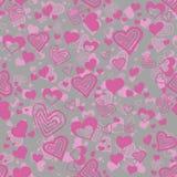 Sömlös modell för rosa färger och för grå färger med hjärtor Fotografering för Bildbyråer