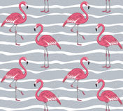 Sömlös modell för rosa flamingo stock illustrationer
