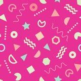 Sömlös modell för rosa moderiktig Memphis stil med gulliga geometriska former stock illustrationer