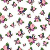 Sömlös modell för rosa tappning Royaltyfri Illustrationer