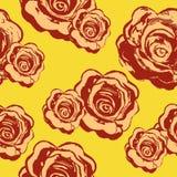 Sömlös modell för rosor på en gul bakgrund Vattenfärgvektor Fotografering för Bildbyråer
