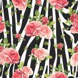 Sömlös modell för rosor på sebrabakgrund Djurabstrakt begrepptryck royaltyfri illustrationer