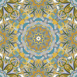 Sömlös modell för rund mandala Arabiska indier som är islamisk, ottomanprydnad Gräsplan och röd blom- modell, motiv royaltyfri bild