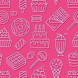Sömlös modell för söt mat med den plana linjen symboler Bakelsevektorillustrationer - klubba, chokladstång, milkshake vektor illustrationer