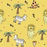 Sömlös modell för safari royaltyfri illustrationer