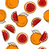 Sömlös modell för Sicilian blodapelsinvektor på vit bakgrund röda apelsiner vektor illustrationer