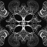 Sömlös modell för silver med calligraphic dekorativa beståndsdelar Räkningsprydnad för att spela kort eller boken Tappning blom-  royaltyfri illustrationer