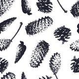 Sömlös modell för skogkottar Spruce och sörja kottar Fotografering för Bildbyråer