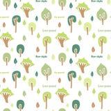 Sömlös modell för skogträd, ljusa färger Arkivfoto
