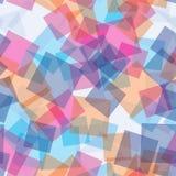 Sömlös modell för slumpmässiga genomskinliga fyrkanter abstrakt bakgrund Fyrkanter som läggas över på de geometriskt Trycktyg, stock illustrationer