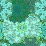 Sömlös modell för smaragd för orientaliskt tryck eller textil Japan planlagd blommig illustration Östligt indiskt, arabiska Arkivbilder