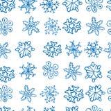 Sömlös modell för snöflingor, Stock Illustrationer