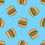 Sömlös modell för snabbmat cheeseburger royaltyfri illustrationer