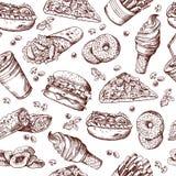 Sömlös modell för snabbmatvektor Hand dragen illustration av småfiskar för för hamburgaresmörgåscola och fransman royaltyfri illustrationer