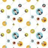 Sömlös modell för social nätverkslägenhet royaltyfri illustrationer