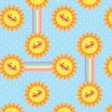 Sömlös modell för sol- och regnbågevektor royaltyfri illustrationer