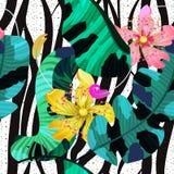 Sömlös modell för sommar/bakgrund, tropiska blommor, banansidor och sebralinjer royaltyfri illustrationer