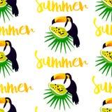 Sömlös modell för sommar med den gulliga tukan, papayaen och palmblad på vit bakgrund royaltyfri illustrationer
