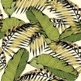 Sömlös modell för sommar med tropiska sidor och filialer Dekorativ bakgrund för vektor för design stock illustrationer