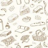 Sömlös modell för sommarpicknickklotter Olika mål, drinkar, objekt, sportaktiviteter Royaltyfri Foto