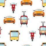 Sömlös modell för stadstransport Ljusa färgbilar, motorcyklar, spårvagnar, bussar royaltyfri illustrationer