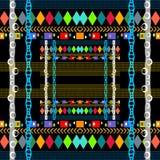 Sömlös modell för stam- geometrisk färgrik vektor Rutig dekorativ geometribakgrund Abstrakt repetitionbakgrund ethnic vektor illustrationer
