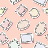Sömlös modell för stolpestämpelklistermärkear Färgrik etikettbakgrund royaltyfri illustrationer