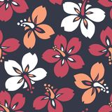 Sömlös modell för stor djärv färgrik tropisk exotisk vektor för hibiskus blom- Frodiga tropiska blom i storformat stock illustrationer