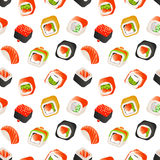 Sömlös modell för sushi och för rullar, illustration för backround för japansk matvektor färgrik Inpackning av mallen vektor illustrationer