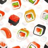 Sömlös modell för sushi och för rullar, illustration för backround för japansk matvektor färgrik Inpackning av mallen stock illustrationer