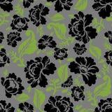 Sömlös modell för svartros Retro blom- textur Royaltyfri Bild