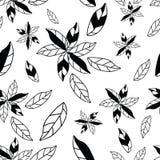 Sömlös modell för svartvita blommor för hand utdragna abstrakta vektor illustrationer