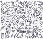 Sömlös modell för tandvård med handdrawn beståndsdelar Stomatologytema stock illustrationer