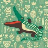 Sömlös modell för tappning med den färgrika krokodilen och blommor Arkivfoton