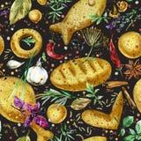 Sömlös modell för tappningarméleksaker tjäna som soldat vattenfärgillustrationen Sömlös modell med matlagning stekt mat royaltyfri illustrationer