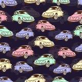 Sömlös modell för tappningbil, retro tecknad filmbakgrund Mångfärgade bilar på beiga För designen av tapeten omslag som är fab vektor illustrationer