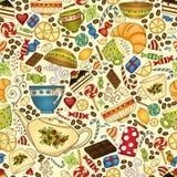 Sömlös modell för te, för kaffe och för sötsaker vektor illustrationer