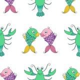 Sömlös modell för tecknad film med den roliga fisken och cancer stock illustrationer