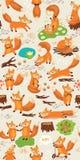 Sömlös modell för tecknad film med gulliga rävar Skog Royaltyfria Bilder