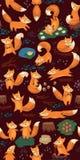 Sömlös modell för tecknad film med gulliga rävar Skog Royaltyfri Bild
