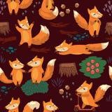 Sömlös modell för tecknad film med gulliga rävar vektor Arkivbilder